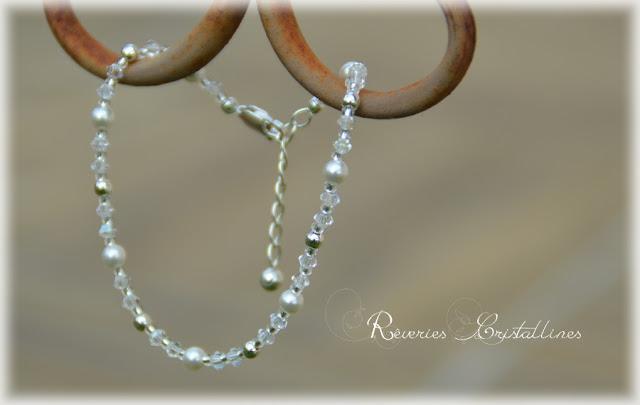 bracelet mariée blanc et argent