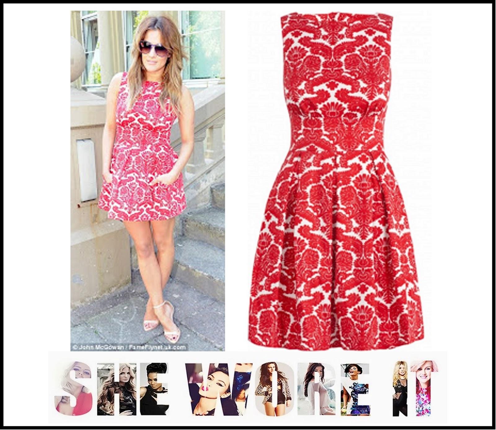 9847846cd385 Caroline Flack s Closet Red   White Sleeveless Lace Print Skater ...
