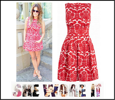 Caroline Flack, Closet, Dress, Mini Dress, Pleated, Print, Red, Skater Dress, Sleeveless, The Xtra Factor, White, Lace Print