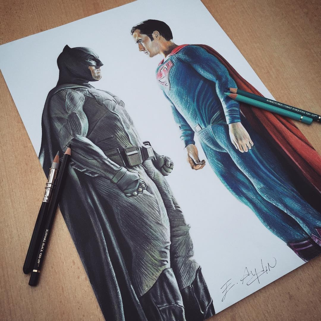 12-Batman-V-Superman-Emre-Aydin-Celebrity-Pencil-Drawings-in-Movies-and-TV-www-designstack-co