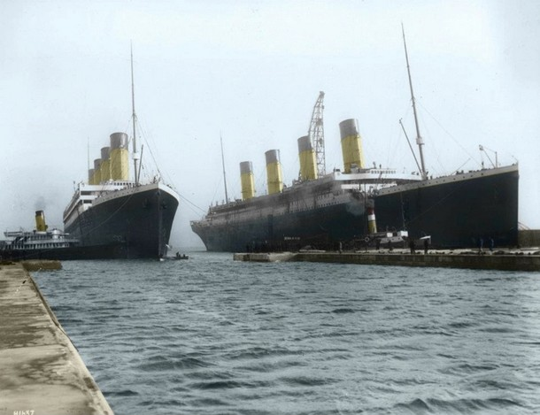 Titanic alongside the Olympic