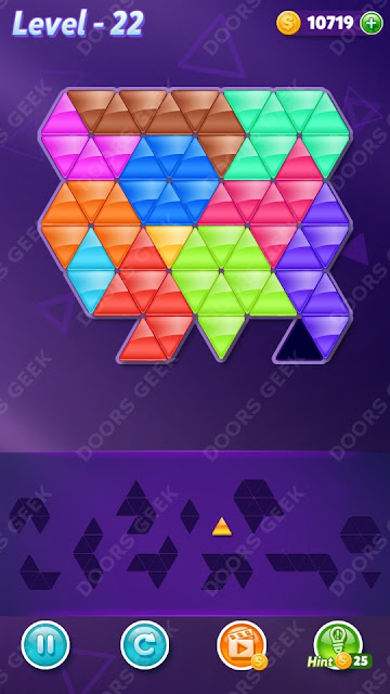 Block! Triangle Puzzle 12 Mania Level 22 Solution, Cheats, Walkthrough for Android, iPhone, iPad and iPod