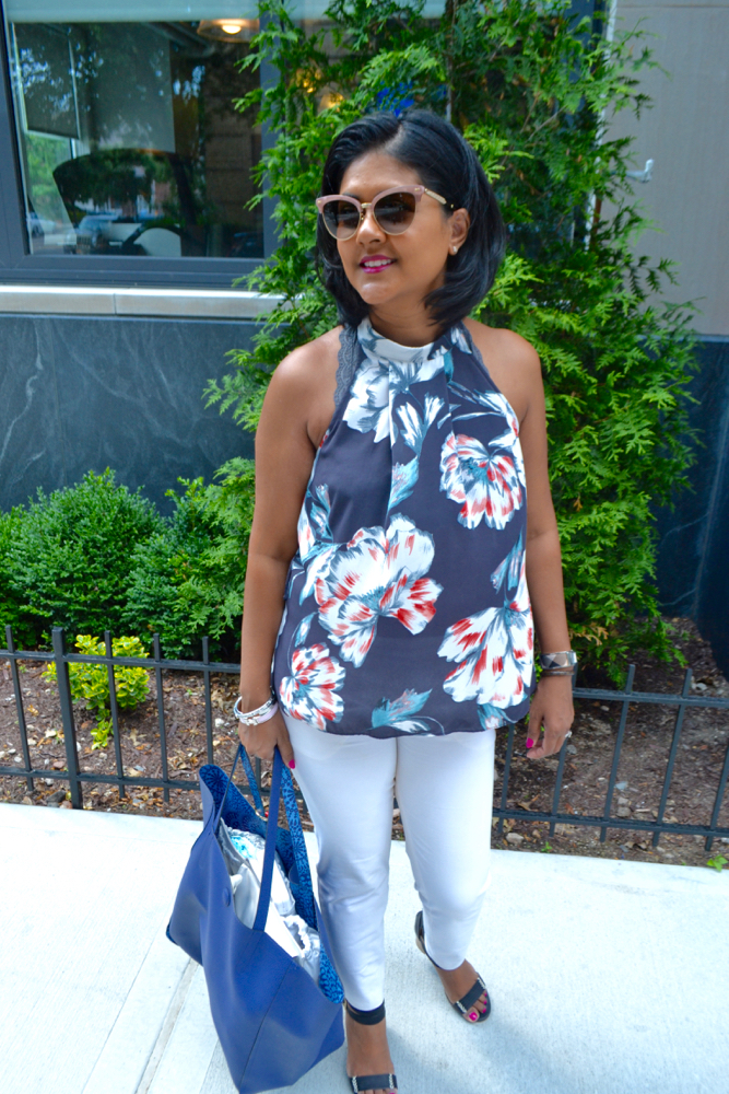 Floral tops and white pants what to wear in summer