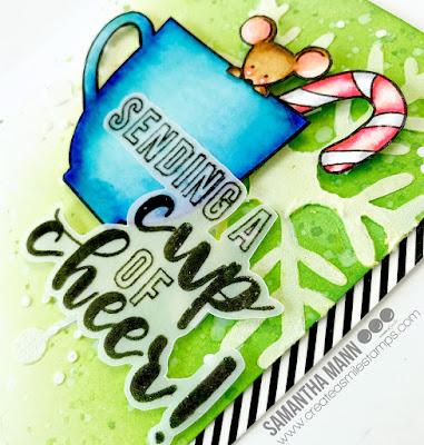 Sending a Cup of Cheer Card by Samantha Mann for Create a Smile Stamps, Christmas, Cards, Distress Inks, Ink blending, Heat Embossing, snowflake, #createasmile #cards #clearstamps #distressinks #inkblending #christmas