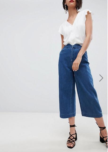 vero moda scallop waist culotte jeans
