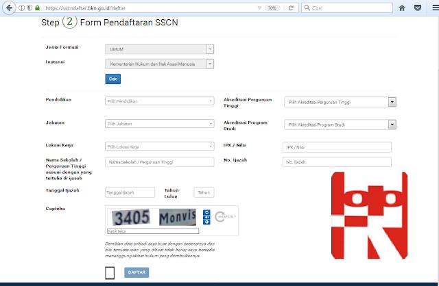 form pendaftaran cpns lamar