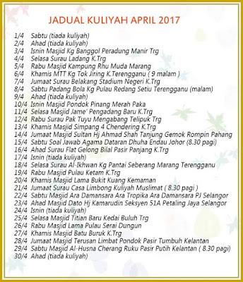 Jadual Penuh Kuliah Ustaz Azhar Idrus (UAI) Bulan April 2017