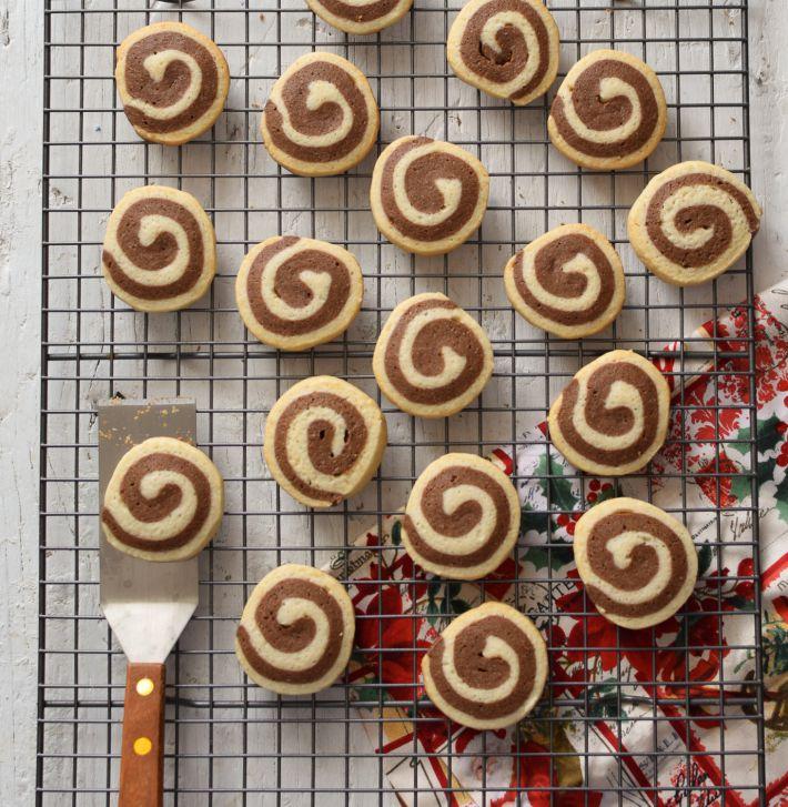 Galletas espiral de dos colores, chocolate y vainilla