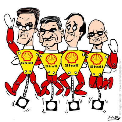 Shell trekpop Rutte, Buma, Pechtold en Segers
