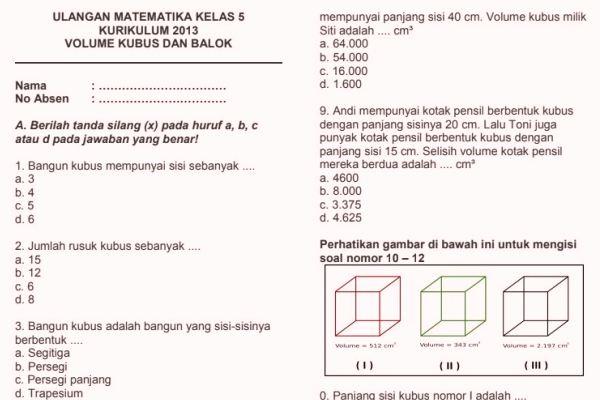 Soal Ulangan Harian Matematika K13 Kelas 5 Volume