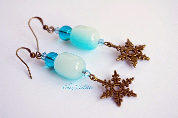 Frozen Mint earrings with snowflake - chezviolette.etsy.net - handmade jewelry