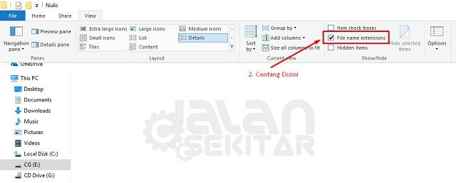 Cara Menampilkan Ekstensi File pada Windows 10