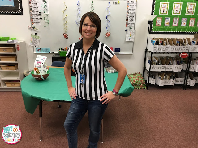 The sports classroom theme also lends itself to an easy costume for the teacher. Here, Not So Wimpy Teacher is dressed as a referee for school!