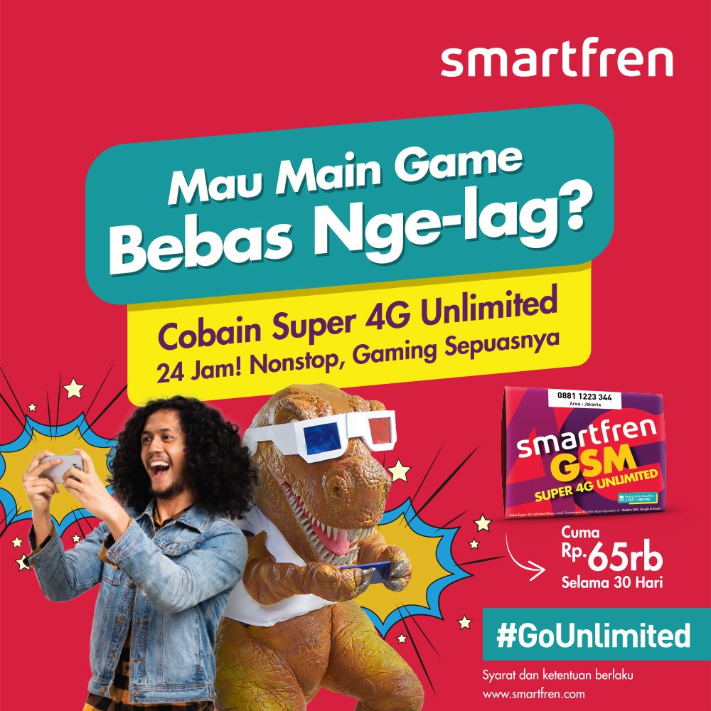 Smartfren - Paket Promo 65 Ribu Dapat Super 4G Unlimeted & Game Bebas Nge-Lag