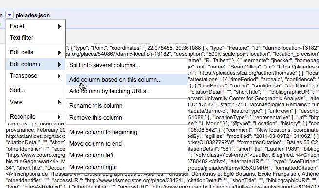 Screen capture of OpenRefine column drop-down menu: add column based on this column