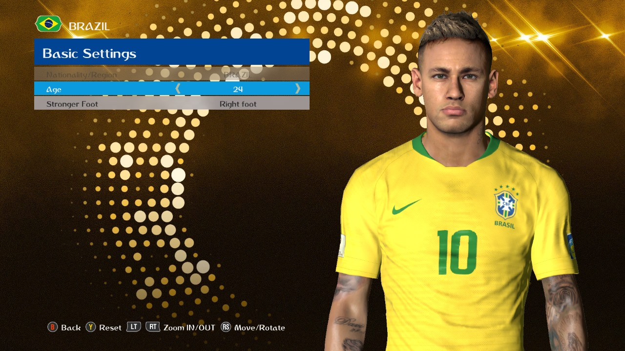 PES 2017 Neymar v9 Face by Ahmed Tattoo & Facemaker