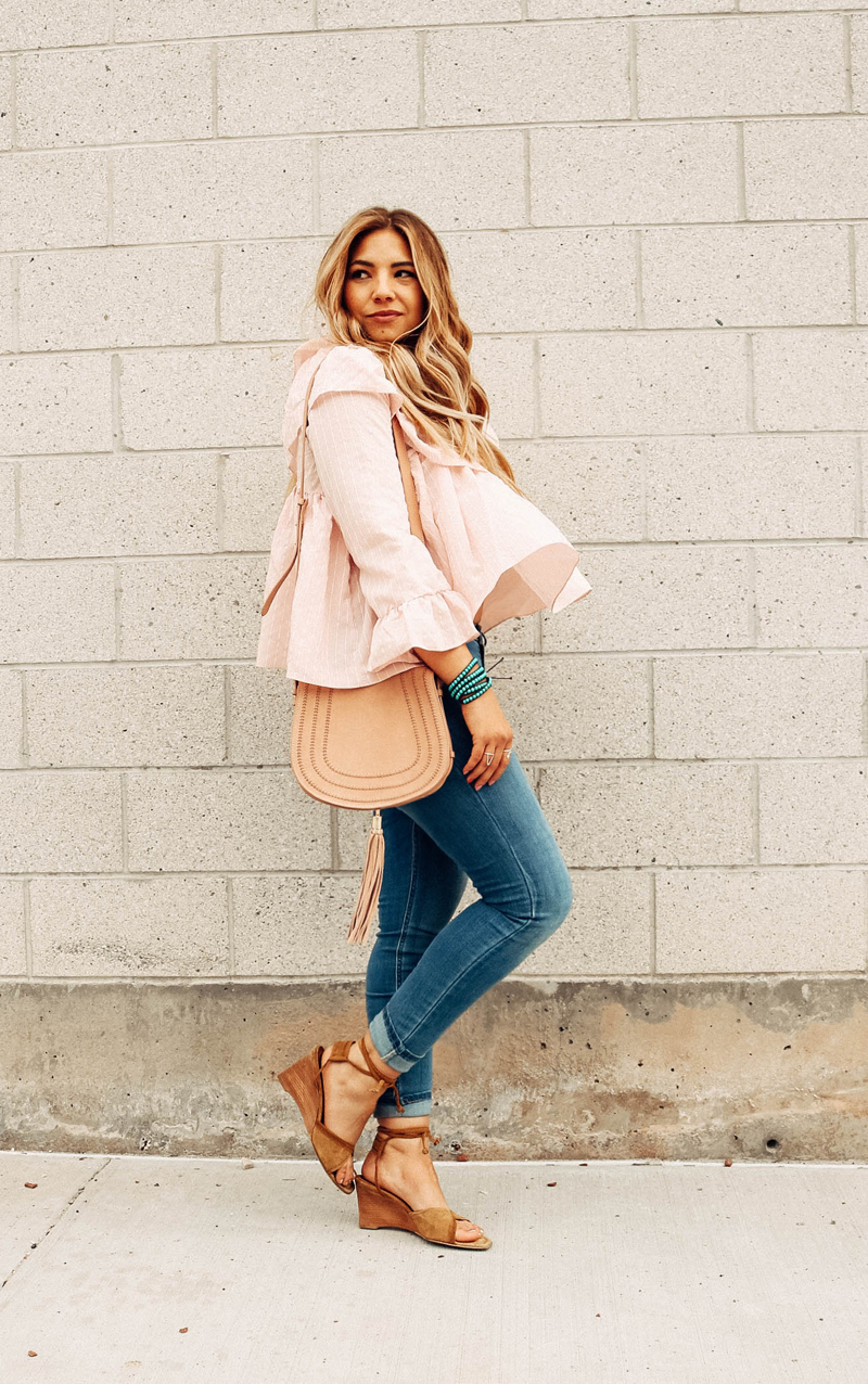 ruffle top, ruffle blouse, laceup shoes