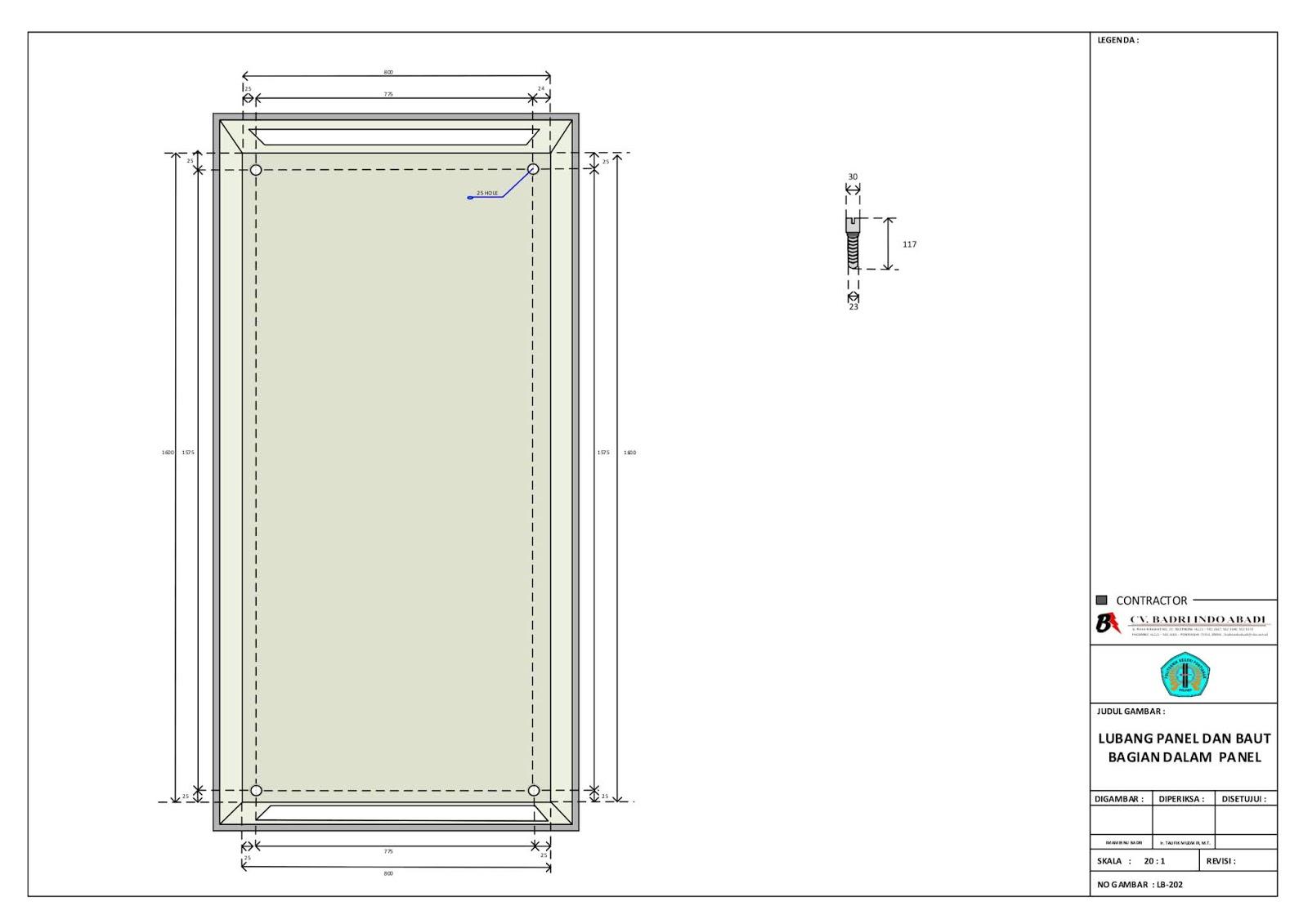 Lubang Panel dan Baut Bagian Dalam Panel