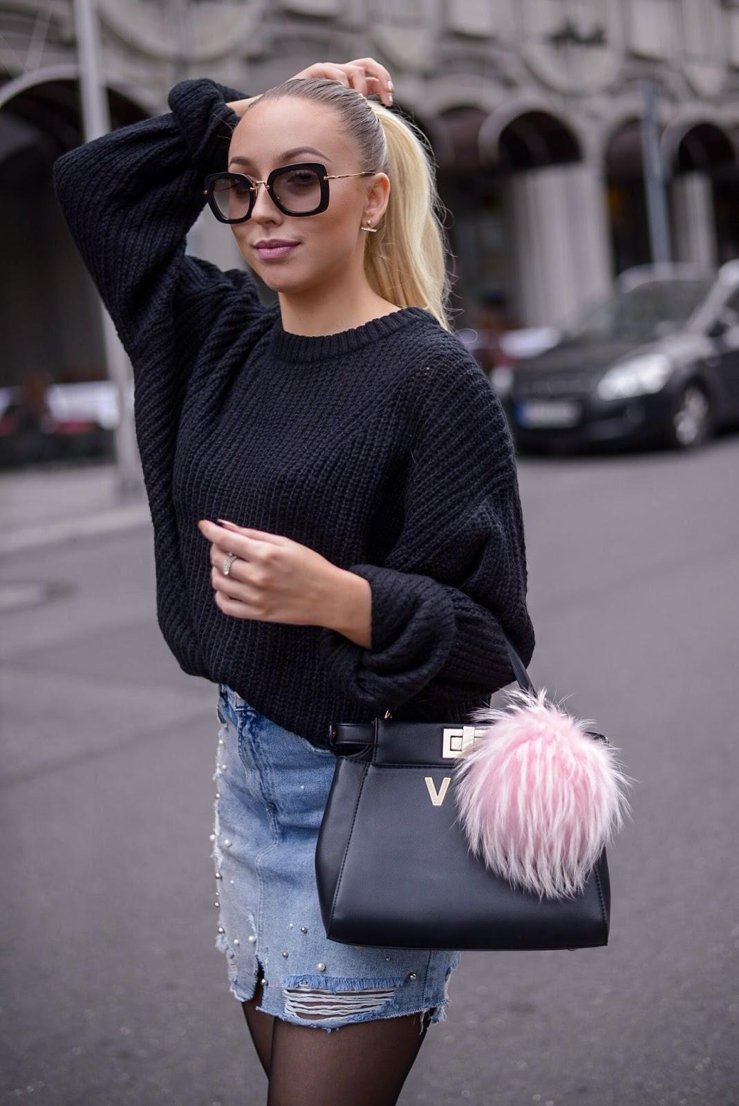 black chunky knit sweater_fendi peekaboo inspired bag_pink fur bag charm_fall looks