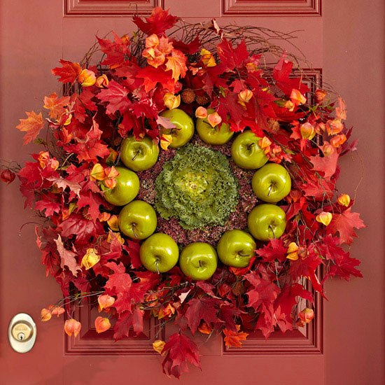 Front Door Wreath  Fall Foliage Green Apple Red Maple leaves