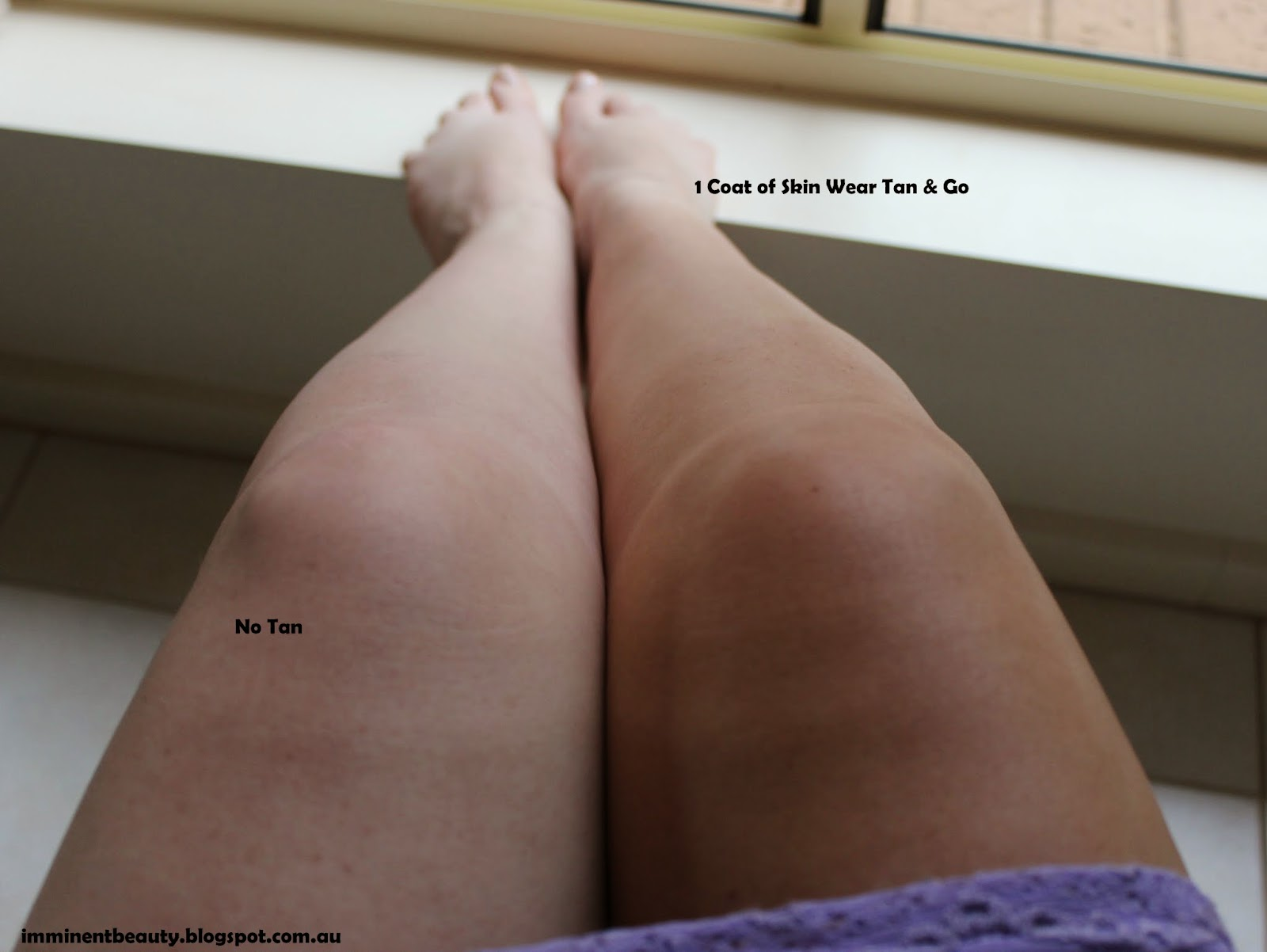Before and after picture of the Skin Wear Tan & Go Professional Self Tanning Mousse in Medium Bronze