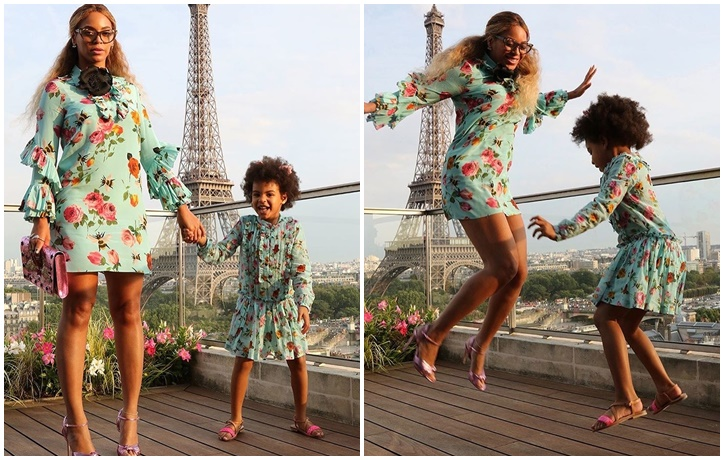 23331815f BEYONCE AND BLUE IVY TWINNING IN GUCCI DRESSES LIKE NO OTHER.   JESTINA  GEORGE