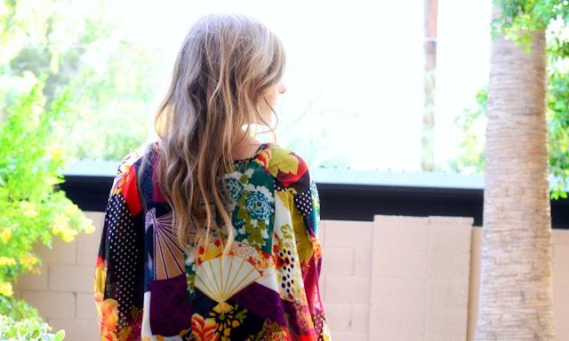 Floral Kimono and Sam Edelman Heels