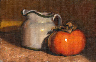 Oil painting of a small white porcelain milk jug beside a persimmon fruit.