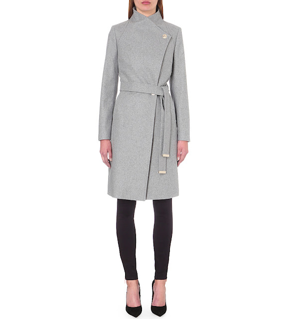 ted baker grey coat, ted baker wrap coat, grey wrap coat,