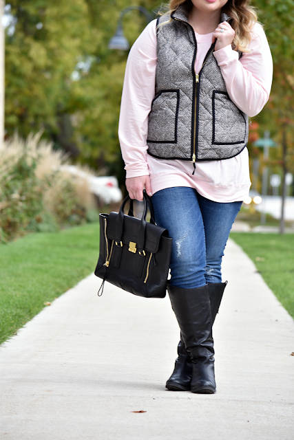 shop the mint rose quartz dolman tunic oversized tunic jcrew toothpick denim sam edelman penny boots phillip lim 3.1 purse jcrew herringbone vest easy fall outfit of the day outfit inspiration weekend wear 2