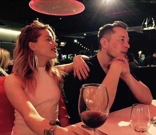 Amber Heard and Elon Musk dating kiss