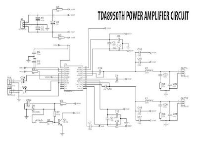 TDA8950 Class D Power Amplifier circuit schematic TDA8950TH