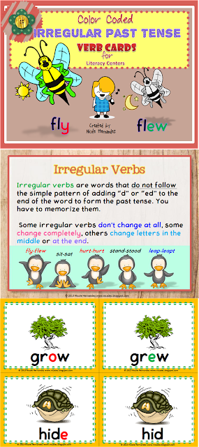 http://www.teacherspayteachers.com/Product/Color-Coded-Irregular-Past-Tense-Verb-Cards-For-Literacy-Centers-1031367