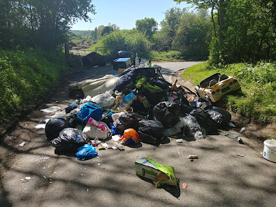Photograph of fly-tipping on Bradmore Lane, May 7, 2018 - Image by North Mymms News released under Creative Commons BY-NC-SA 4.0
