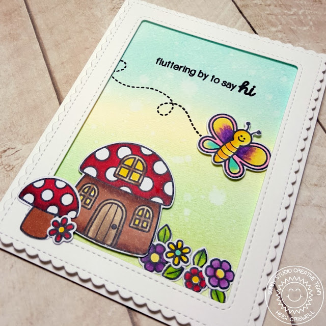 Sunny Studio Stamps: Backyard Bugs Fluttering By To Say Hi Butterfly Card by Heidi Criswell.