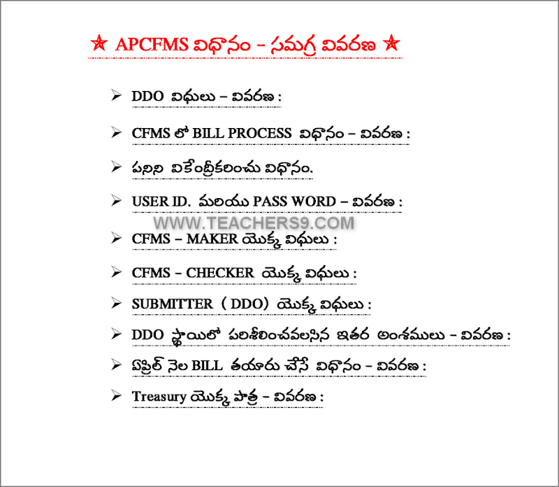 AP CFMS GUIDELINES - HOW TO PREPARE SALARY BILL IN CFMS WEBSITE - FULL DETAILS IN TELUGU