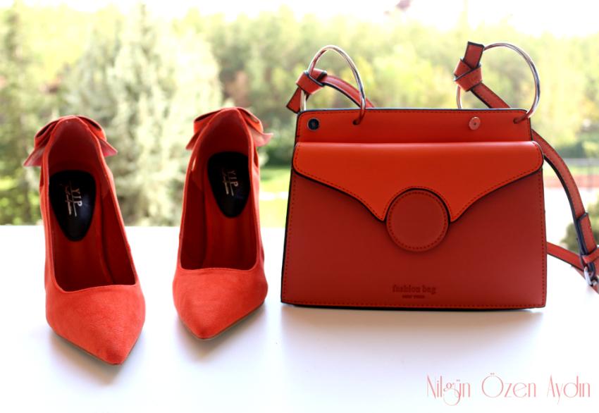 alışveriş-Turuncu Çanta ve Ayakkabı-moda blogu-fashion blog