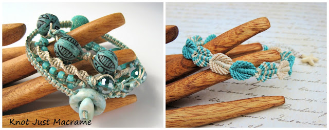 Micro macrame wrap bracelet class and Falling Leaves class by Sherri Stokey.