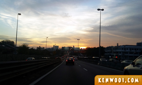 driving to sunset