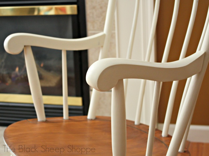 Gentle curves on rocking chair arms.