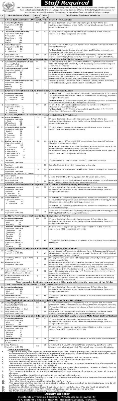 FATA Development Authority Jobs August 2018 [ 110+ Vacancies ]