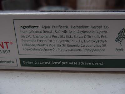 Parodontol gél Herbadent zloženie