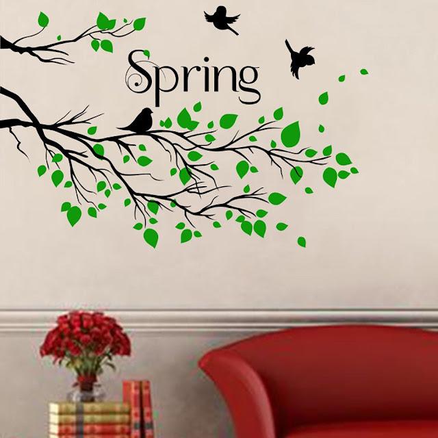 Baby Wall Stickers, Green spring Tree Bird Wall Sticker
