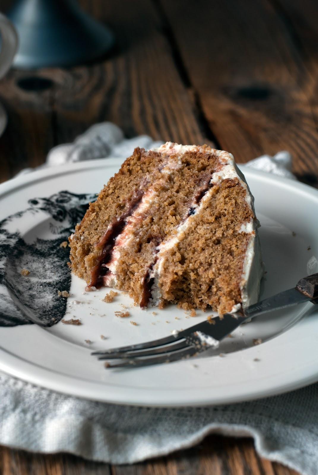 Ciasto dyniowe z kremem twarożkowym i powidłami