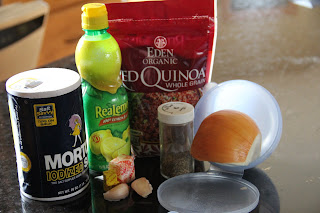 red quinoa, salt, lemon juice, garlic, pepper and onion
