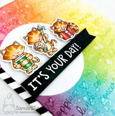 It's Your Day Card by Samantha Mann - Newton's Nook Designs, planner stamps, birthday card, rainbow, distress inks