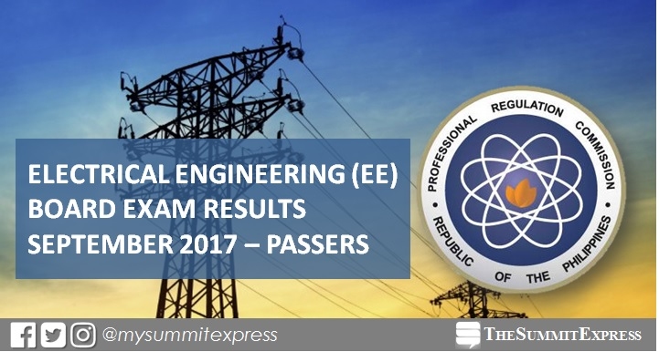 September 2017 Electrical Engineer REE, RME board exam passers