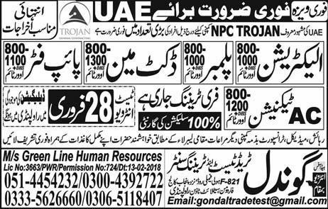 Overseas Jobs in UAE for Electrician, Plumber, Pipe man Other
