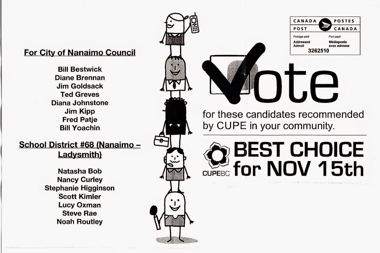 Nanaimo-Info-blog: DO UNIONS INFLUENCE ELECTIONS?