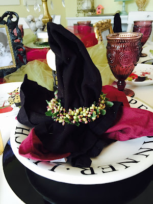 witch hat napkins, witch tablescape, Witchy tablescape, Halloween decorations, The Style Sisters